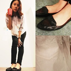 Elaine Hsu - Nine West Pointy  Toe Loafer, Jeanasis Gradient  Colored Boyfriend Shirt - Cozy Rainy Day (remixed outfit)
