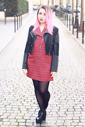 Katia - Lazy Kat - Shampalove Studded Jacket, In Love With Fashion Tartan Dress, Shoes And Furious Platform Heels - In Love with Fashion