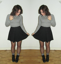 Ria-Louise Brown - Primark Sweater, H&M Skater Skirt, American Apparel Grey Knit Socks, Ark Lace Up Boots - There is no Nobility in Poverty
