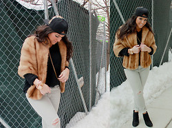 Tiffany - Marylai Leopard Ponyhair Snapback Hat, Vintage Fur Stole, Lands End Mens Oversized Sweater, Shopbop Ripped Jeans, Steve Madden Black Ankle Boots, Nixon Rosegold Watch - I Woke Up Like Dis