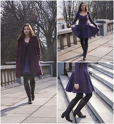 Dalia Fashion - Burgundy Coat, Circle Skirt - Burgundy&Violet
