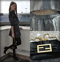 Amina Allam - Choies Lace Trimmed Pu Crop Top, Choies Studded Pu Skater Skirt, Fendi Velvet Clutch, Fendi Lace Up Pumps, Léalyne Crystal Earrings - Black faux leather & lace crop top