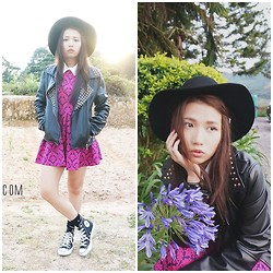 Angeline Ng - Studded Leather Jacket, Miiramew Baroque Dress, Converse Hightops Sneakers, Mirra Mew Fedora Hat - Casual Rocker Chic