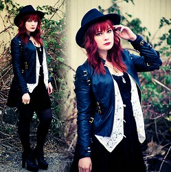 Molly McIsaac - Thrifted Velvet Dress, Forever 21 Buckle Leather Jacket, Thrifted Hat, Thrifted Crochet Vest, Jeffrey Campbell Litas - Leather and Lace