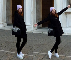Joosje S - Ebay Lilac Beanie, Pull & Bear Half Duffle Coat With Big Nice Pockets, Thrifted Black Velvet Leggings, Thrifted White Platform Sneakers, While She Sleeps Tote Bag - Winter winner