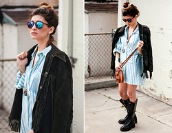 Selena Cruz - Vintage Fringe Leather Jacket, Vintage Striped Shirt, Vintage Tooled Leather Purse, Vintage Military Boots - Desert Daze