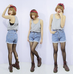 Lady Lou - Playboy Denim Highwaisted Shorts, Dr. Martens Cherry Red Boots - 02112014