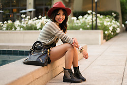 Anne Di - Brixton Wide Brim Hat, Balenciaga Bag, Forever 21 Studded Boots, Joie Knit Top - Carmen Sandiego