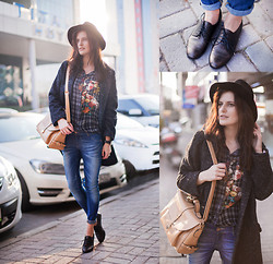 Viktoriya Sener - Sheinside Shirt, Rosewholesale Bag, Zara Hat, Mango Coat, Asos Jeans - WHITE LIGHT