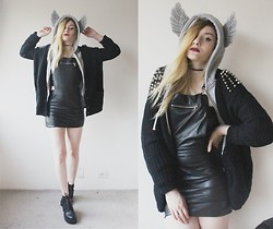 Jacqueline Illoz - Sheinside Cardigan With Spikes, Choies Angel Wing Hoodie, Romwe Leather Dress, Romwe Leather Bralet, Romwe Boots - Show me how to live