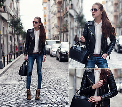 Katerina Kraynova - Vesst Blouse, Bodaskins Jacket, Wholesale7 Jeans - Biker Oil Black #2