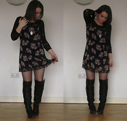 Ria-Louise Brown - Divided Lace Crop Tee, Urban Outfitters Silver Locket, Divided Floral Cami Dress, New Look Over Knee Boots - Love is the Flower you've got to let Grow