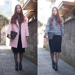 Yu Kuwabara - Kaon Light Pink Boyfriend Coat, Fruitcake Herringbone Patterned Pullover, The Days Tokyo Navy Knitted Pencil Skirt, G.V.G.V. Lace Up Heels, My Mom's Closet Navy Clutch - Pink on Navy