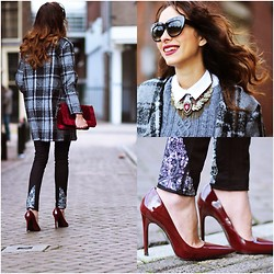 Virgit Canaz - Dressvenus Bag, French Connection Uk Trousers, Zerouv Sunglasses - Plaid Coat