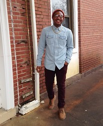 Kedrick Pasley - Clarks Suade Shoes, Carbon Burgundy Jeans, Old Navy Denim Shirt, Carbon Gold Necklace, Urban Outfitters Orange Hat - Smile. Be happy.