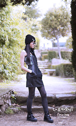 ♥Naokawaii♥ - Shana Lol Hat, Topshop Striped Top, H&M Faux Leather Dungarees Dress, Primark Boots - Faux leather casual dress