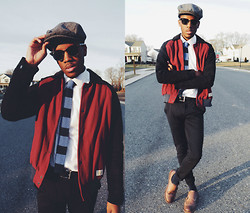 Andy Jackson - Ray Ban Black Wayfarers, Knitted Stripe Tie, Lifetime Collective Varsity Jacket, Zara Navy Circular Trousers - Can't Take My Eyes Off Of You