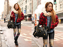 Stephanie D - Oasap Tiger Leggings, Forever 21 Tartan Jacket - I heart NYC