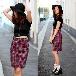 Bee S - Jeffrey Campbell Jaynies, Frontrowshop Plaid Skirt - Twenty Fourteen