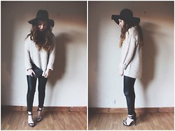 Rianna Bowles - H&M Hat, Zara Knit, River Island Leather Trousers, Zara Heels - Eleven Two
