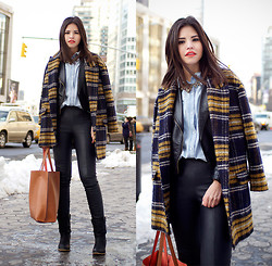 Adriana Gastélum - Sheinside Coat, Jacket & Shirt, Express Leggings - Being smart