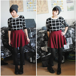 Sabrina B - Frontrowshop Sweater, Oasap Circle Skirt, American Apparel Cuffed Beanie - Every Chance We Get We Run