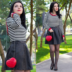 Emel Acar - Sheinside Skirt, Sheinside Top, Rosewholesale Heart Bag, Choies Heels - Happy Valentine's Day!