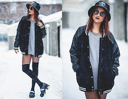 Hil Mistry - Stüssy Bucket Hat, Karmaloop Triangle Sunglasses, Forever 21 Sweater, Forever 21 Varsity Jacket, American Apparel Thigh High Socks, Urban Outfitters Platforms - Triangles