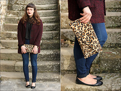 Beatrice Costanzo - H&M Boyfriend Coat, Asos Cape Shirt, Leopard Print Clutch, American Apparel Easy Jean, H&M Flats - Tell me why you are like this