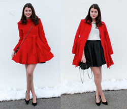 Julie Provencher - Nisse Coat, Nine West Pumps, Piperlime Skirt - NYFW Day 1