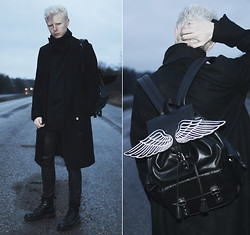 "Samuel Friberg - Fifth Avenue Shoe Repair Coat, Lost Mannequin Rucksack, Acne Studios Pleather Jeans, Dr. Martens Black Mono Boots - ""... borne through the skies on a fog of doom."""
