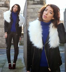 Ciara O doherty - Cotton Face Vintage Stole, Minusey Biker Jacket, Primark Trousers, Asos Boots, River Island Turtle Neck - Weather Resistant