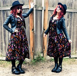 Molly McIsaac - Thrifted Felt Hat, Thrifted Floral Midi Dress, Forever 21 Faux Leather Moto Jacket, Jeffrey Campbell Coltranes - Make a Shadow