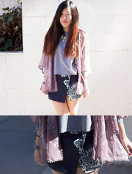 Grace H - Urban Outfitters Embroidered Kimono Jacket, Topshop Asymmetrical Skort - Butterfly-esque.