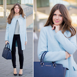 Frau Eismann - Zara Cocoon Coat, Michael Kors Bag, H&M Sweater - Color of spring sky