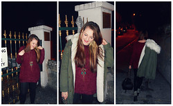 Maisie Gibbons - Topshop Parka, Peacocks Fluffy Jumper, Topshop Black + Gold Backpack, Blanco Owl Necklace, Peacocks Khaki Boots - Midnight Memories