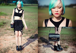 Arissa .H - Asos Cropped Top, Unif Skirt, Bag, Acne Studios Atacoma - Cropped off