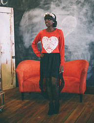 Priscilla Kioko - H&M Sweetheart Sweater, Forever 21 High Low Skirt, H&M Hair Clips {Flower Crown} - Sweetheart