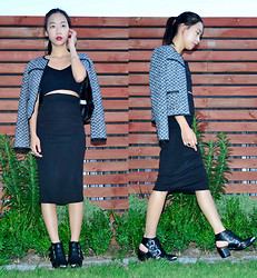 Faith Png - Glassons Tweed Jacket, Valley Girl Black Bralet, Choies Black Pencil Skirt, Glassons Cut Out Boots - The Tweed Jacket