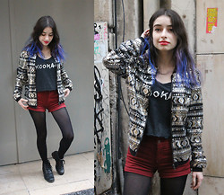 Cécile D. - Tally Weijl Sequined Bomber Jacket, Vintage Kookai Tank Top - Spark like empty lighters