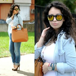 Teodora J. - Zara Bag, Replay Jeans, Choies Sunglasses - Denim on denim