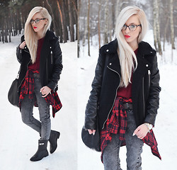 Aneta M - Sheinside Jacket, Jeans, Lovely Shoes Leather Boots - TARTAN SHIRT