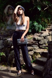 Gráinne W. - Diy Trousers, Vintage Clutch, Silver Stilettos, Shutterbug Grey Bowler, White Crop Top - What my Doppelganger doesn't know...