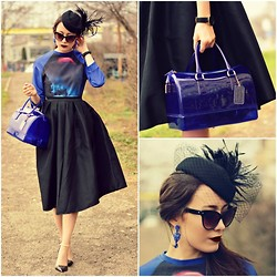 Paris Sue - Furla Candy Bag, Larsson & Jennings Watch, Romwe Hat, Choies Skirt, Zara Heels, Oasap Sweater - Black & Blue