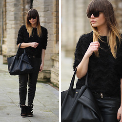 Iris . - River Island Fluffy Black Sweater, H&M Leather Pants, Céline Bag, Isabel Marant Sneaker - BLACK AND LEATHER