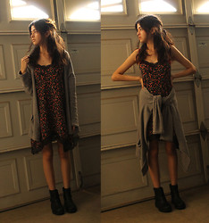 Vanessa Valenzuela - H&M Cardigan, Forever 21 Black Boots, Slip Dress - Does Winter Exist in California?