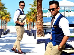 Paul Ramos - Zara Combined Waistcoat, Ted Baker Pocket Square, American Eagle Outfitters Oxford Shirt, American Eagle Outfitters Khaki Pants, Zara Burgundy Tassel Loafers, Ivi By Keith Angelo Menvelope, H&M Chambray Tie - Meydan Beach Club