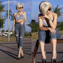 Priscila Diniz - Romwe Striped Bralet, Sammy Dress High Waisted Jeans, Jessica Buurman Riveted High Heels - I'm blonde, I'm skinny,I'm rich.And I'm a little bit of a B.
