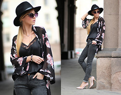 Sirma Markova - H&M Kimono, Pull & Bear Jeans, H&M Wool Hat, Stradivarius Lingerie Style Top, Persun Shoes, H&M Bracelet - Fall in Love