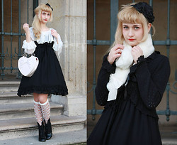 Mila De Blois - Moi Même Moitié Chiffon Dress, Btssb Labyrinth In The Reminiscent Mirror Over Knee Socks, Offbrand Chiffon Blouse, André Black Boots, Btssb Heart Bag, H&M Flowers, Btssb Black Headdress, Angelic Pretty Snow Rabbit Fur Scarf, Aatp Black Cardigan - That kind of luxe just ain't for us